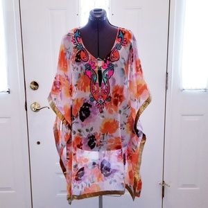 **Sale**  Orange & Gold Beaded Cover-up M  (NWT)